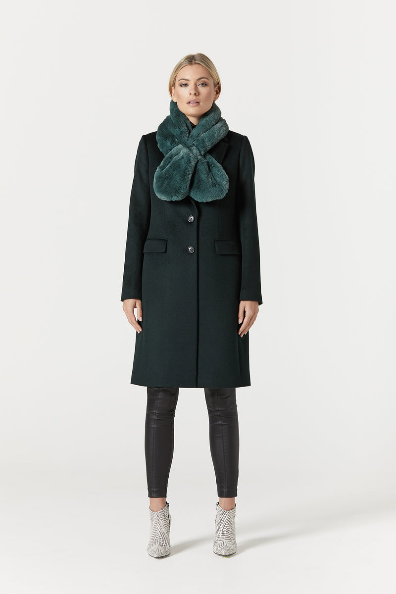 Faux Fur Collar Green Front