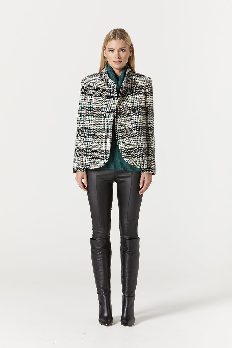 Evelyn Coat Green Check Front