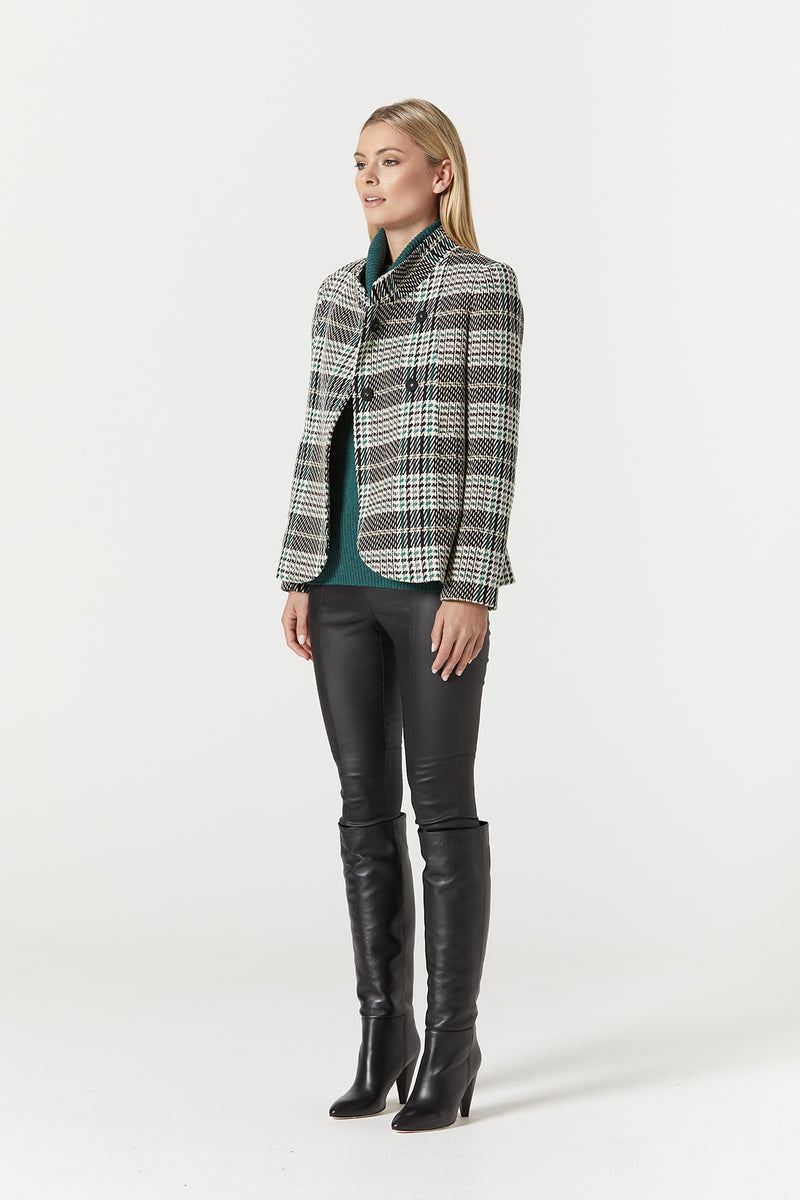 Evelyn Coat Green Check Side