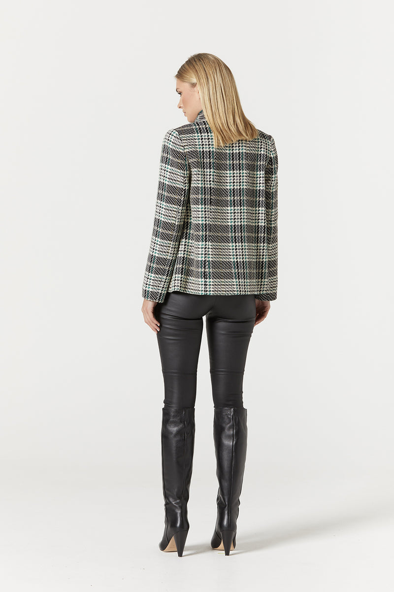 Evelyn Coat Green Check Back