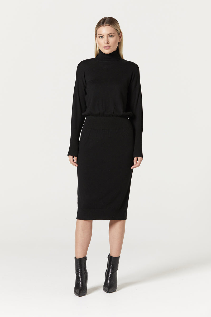 Florence Merino Dress Black Front