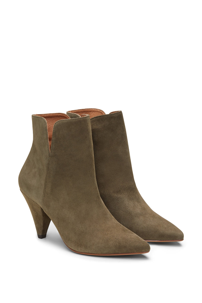 Gisela Suede Ankle Boot Khaki Detail