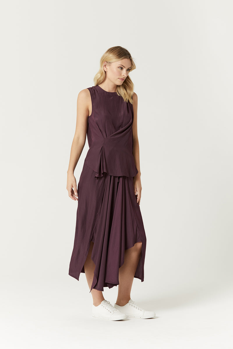 Astrid Drape Skirt Aubergine Side