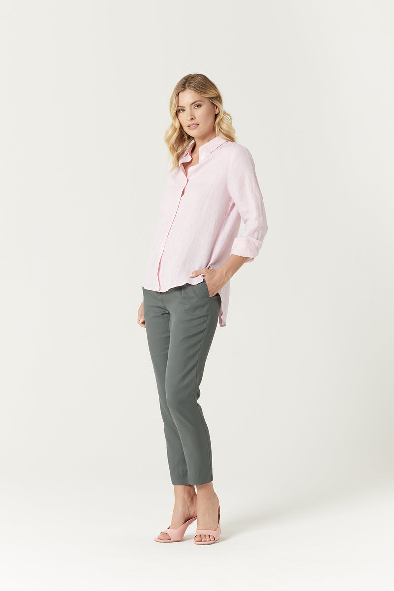 Linen Summer Shirt Pink Marle Side