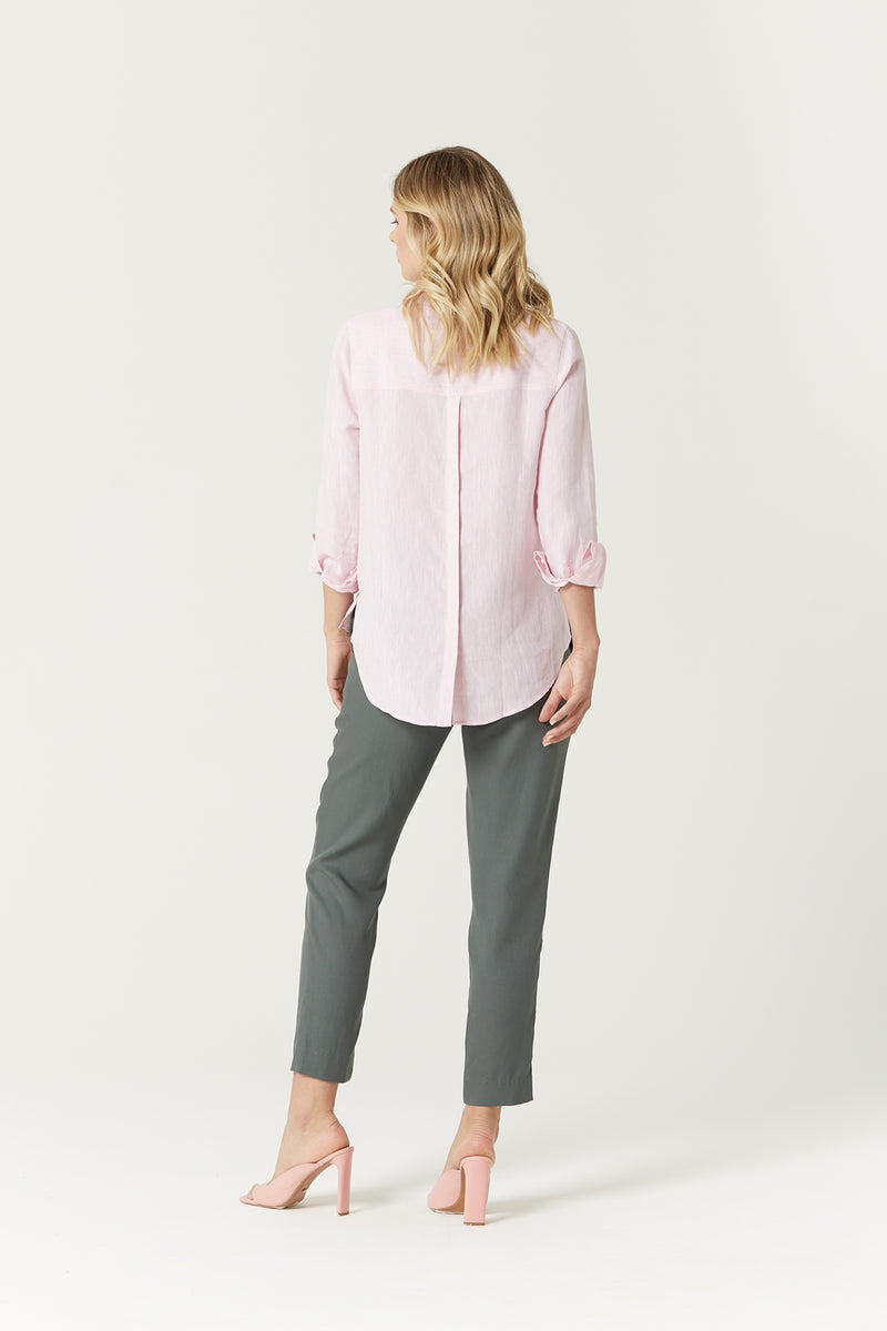Linen Summer Shirt Pink Marle Back