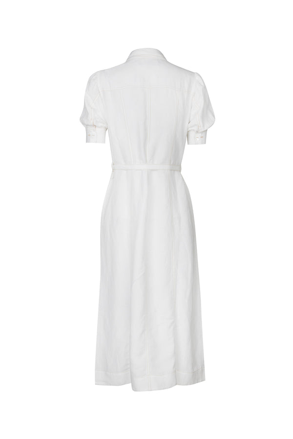 Zuri Linen Dress White Back