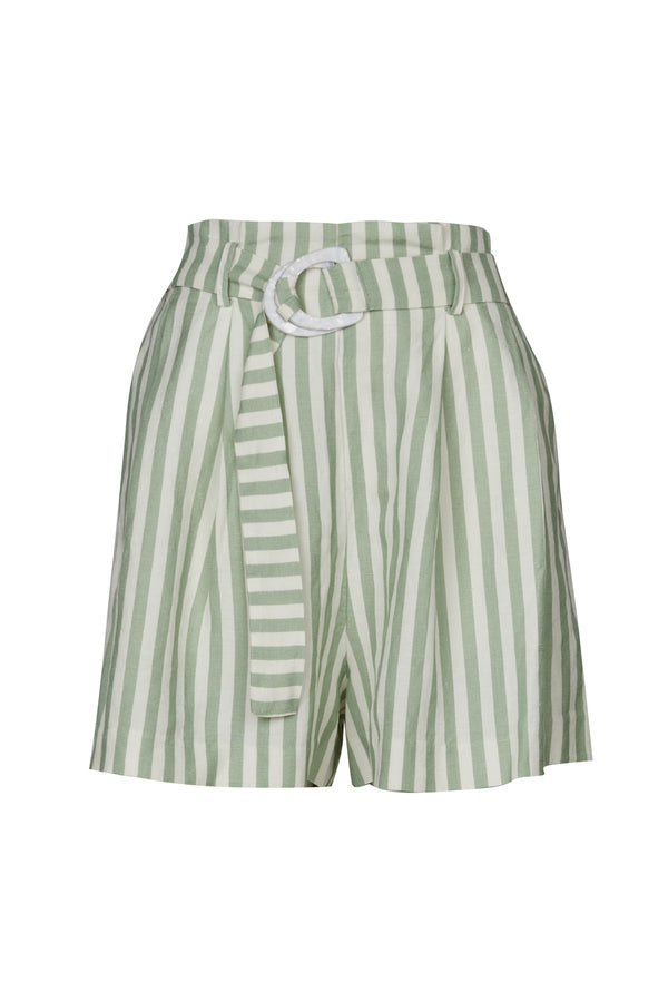 Zuri Linen Short Sage Green Stripe