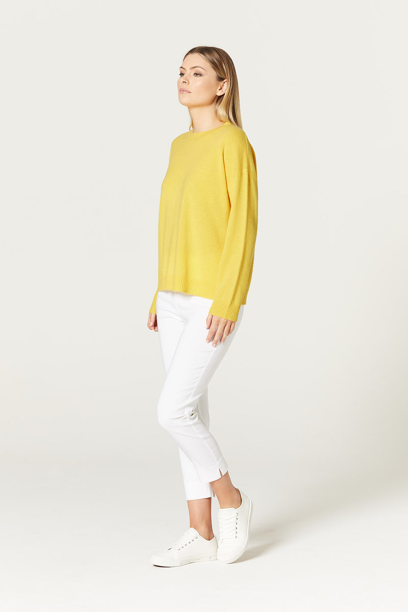 Pure Cashmere Crew Neck Daffodil Yellow Side