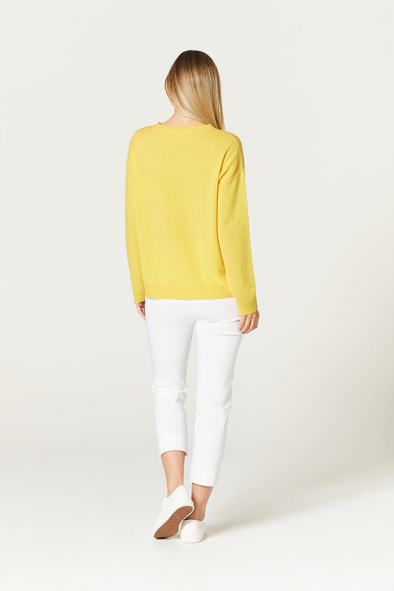 Pure Cashmere Crew Neck Daffodil Yellow Back