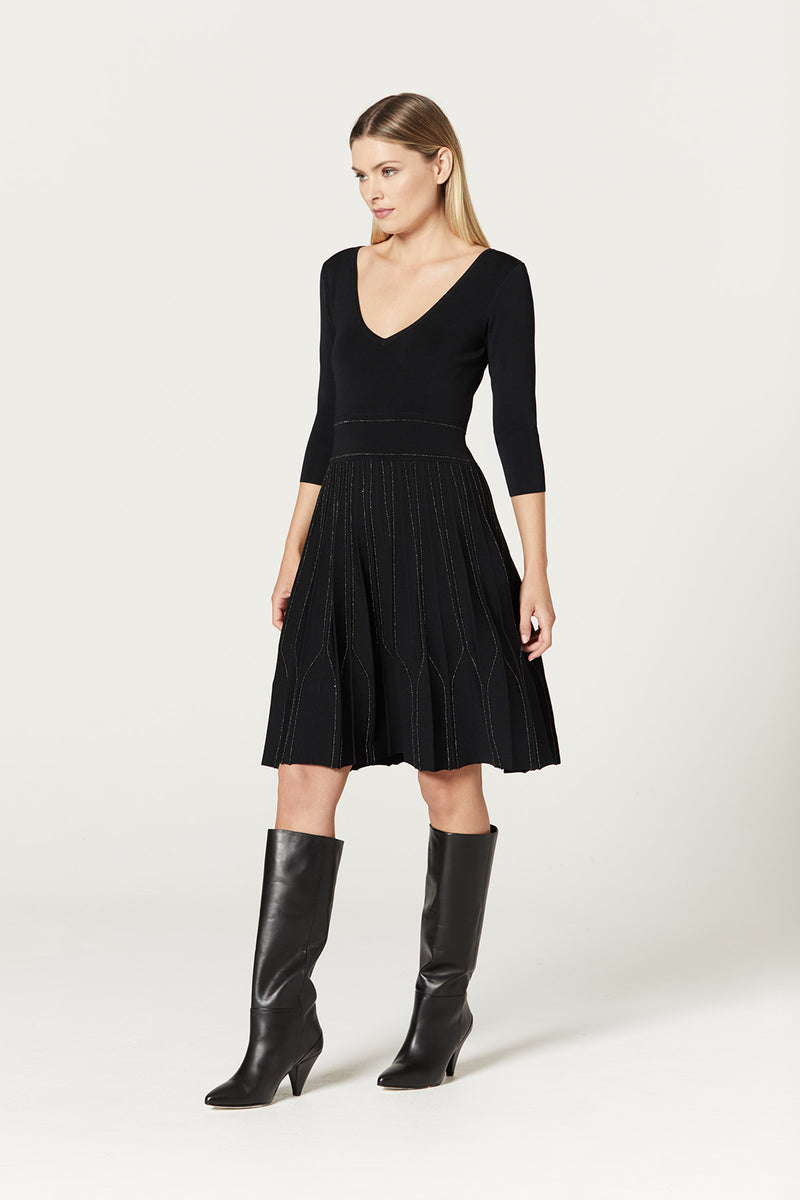 Sophie Dress Black Metallic Side