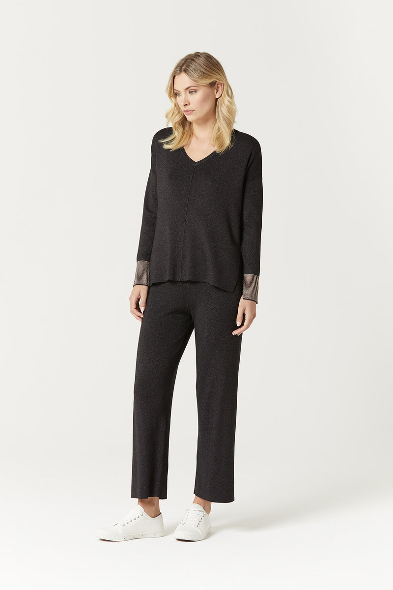 Aria Lurex Pant Black Lurex Side