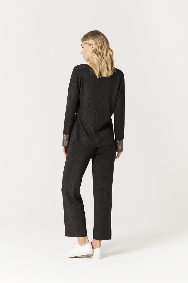 Aria Lurex Pant Black Lurex Back