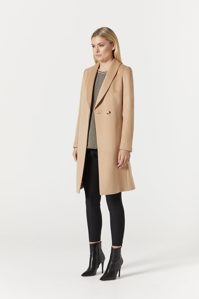 Finley Drape Wool Coat Camel Side