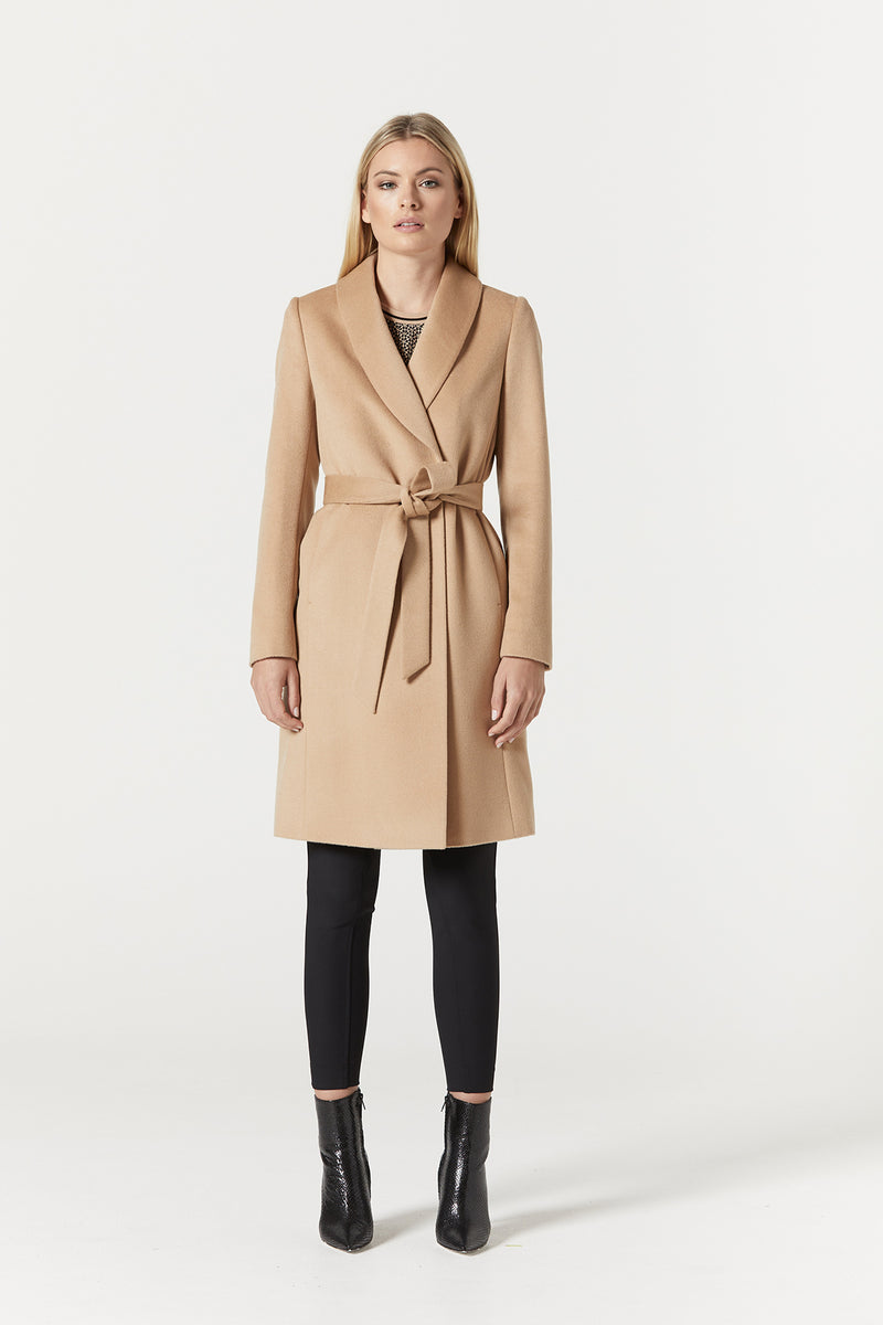 Finley Drape Wool Coat Camel Back