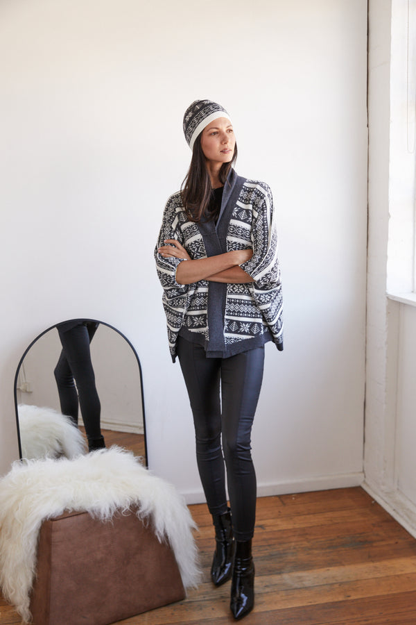 Alpine Cardigan Charcoal Front