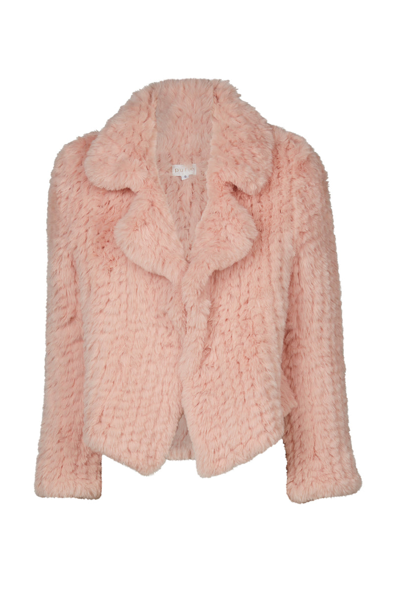 Trimmed Collared Coat Coral