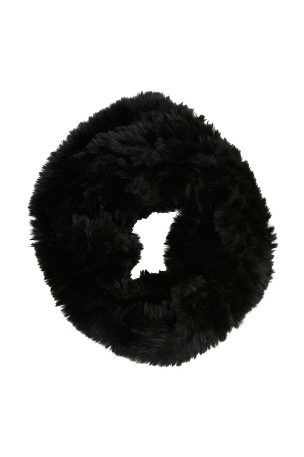 Trimmed Fur Snood Black