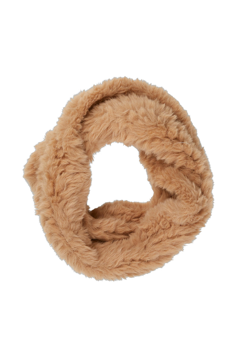 Trimmed Fur Snood Camel