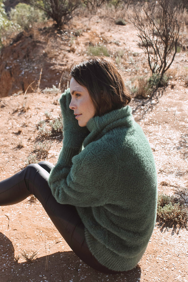 Elwood Cowl Jumper Basil Green Side