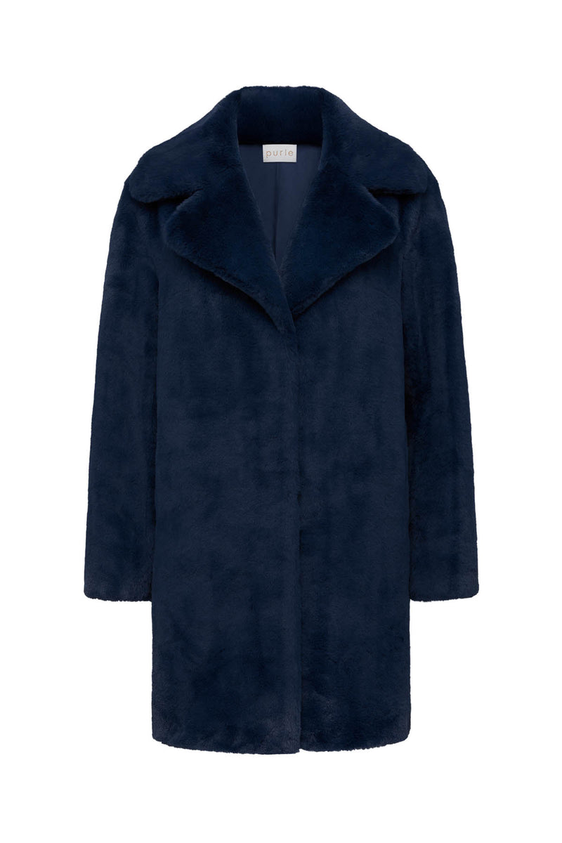 Long Teddy Coat Navy Crop