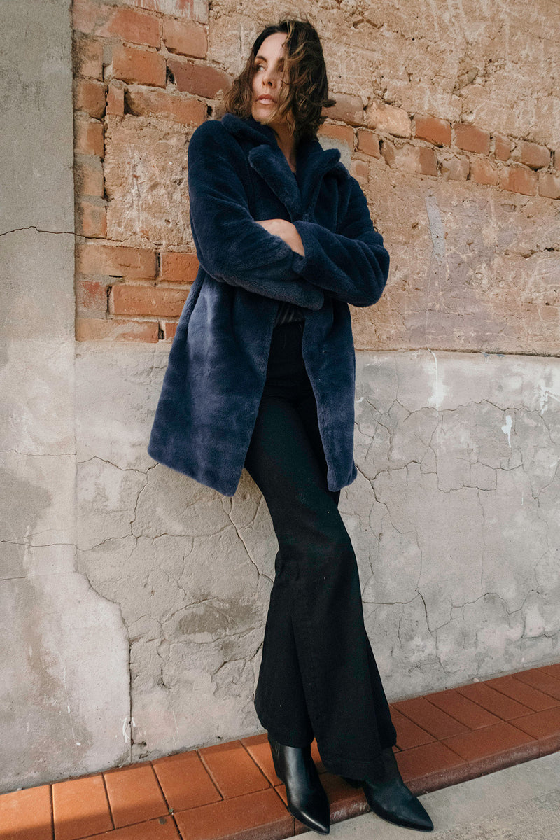 Long Teddy Coat Navy Front