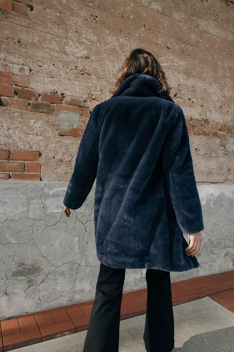 Long Teddy Coat Navy Back