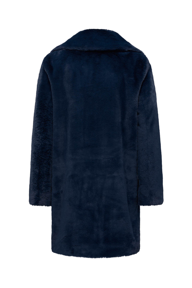 Long Teddy Coat Navy