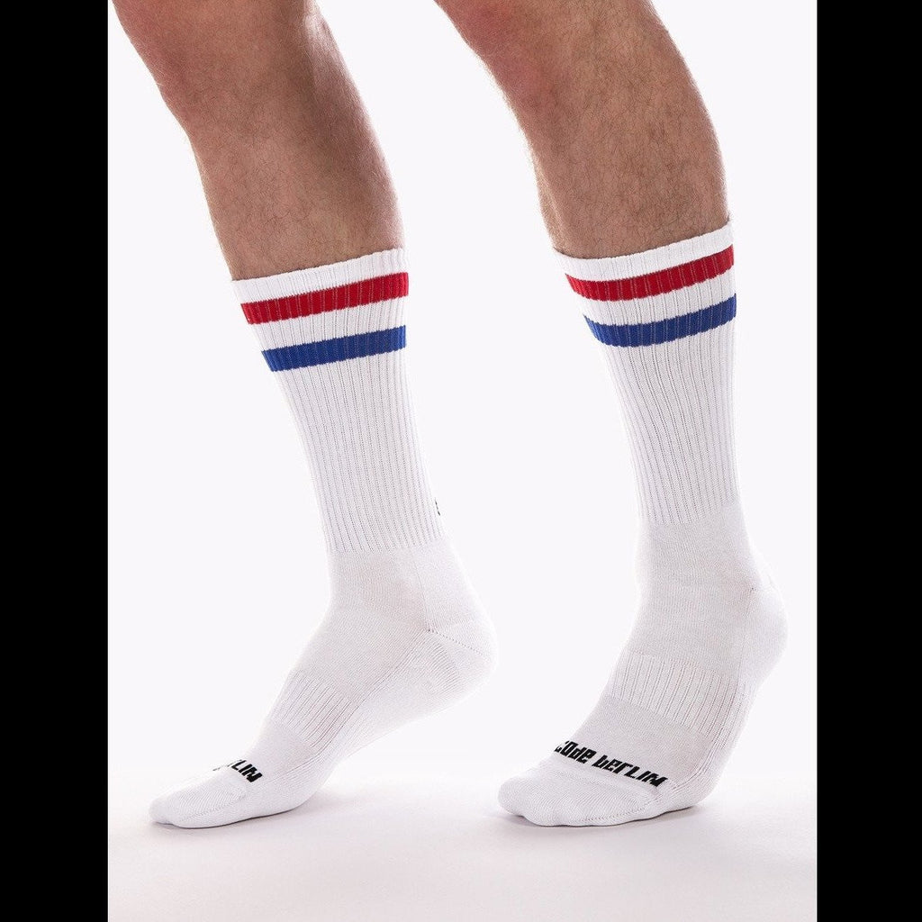 70's Fashion Socks - White Red Blue