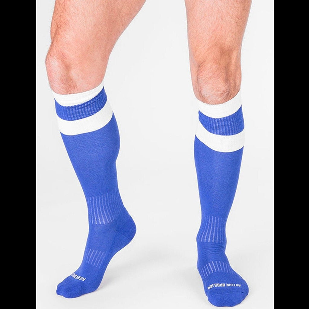 Football Socks - Blue White, Barcode Berlin