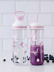 EQUA BPA FREE FLOW 2 in 1 water bottle, Bounce, close up of the water bottle and smoothie bottle with straw, graphic motif, purple color