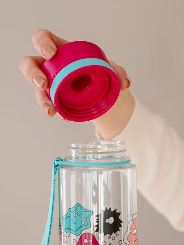 EQUA BPA FREE water bottle, Pink Monsters, close up of the lid, pink and mint color