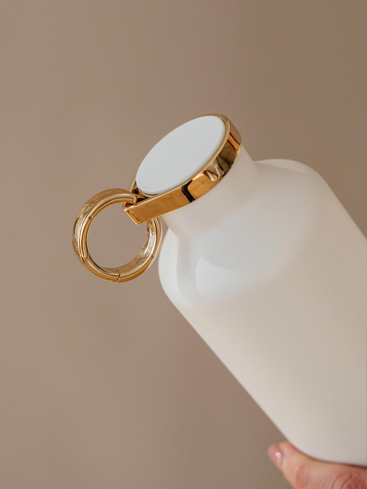 Close up of lid and holder ring of Classy White water bottle