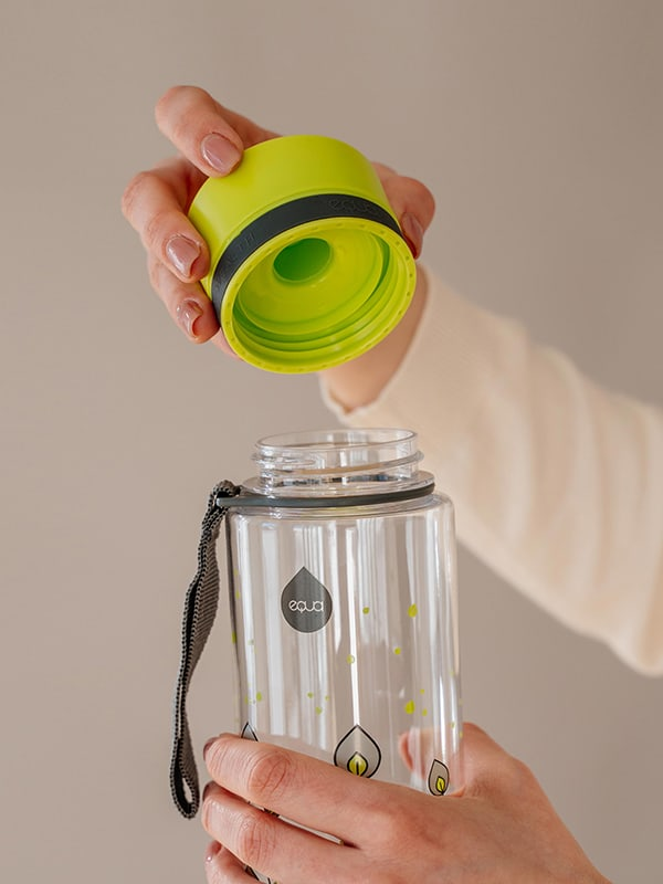 EQUA BPA FREE water bottle, Green leaves, close up of the lid, bright green and grey color