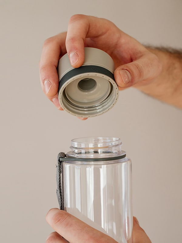 EQUA BPA FREE water bottle, Plain Grey, close up of the lid, grey color