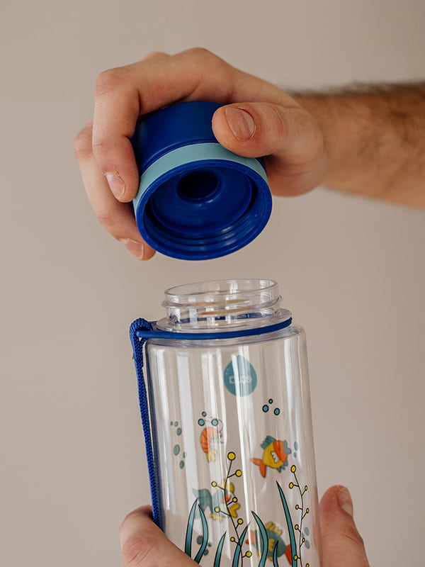 EQUA BPA FREE water bottle, Equarium, close up of the lid, blue color