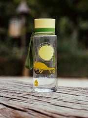 EQUA BPA FREE water bottle, Chameleon, motif of chameleon, yellow and green color, picture of the product in the nature