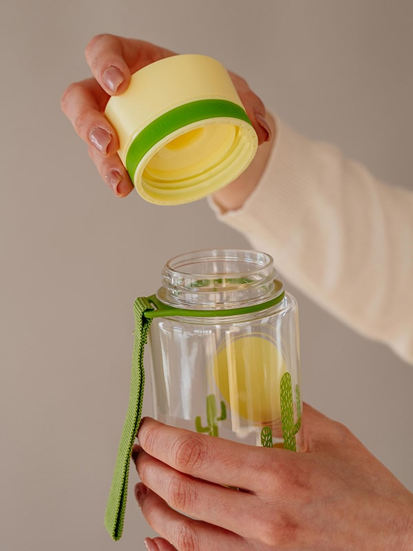 EQUA BPA FREE water bottle, Chameleon, close up of the lid, yellow and green color