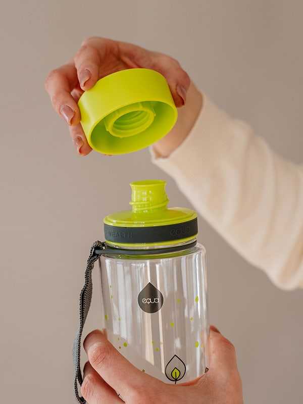 EQUA BPA FREE water bottle, Green leaves, close up of the lid and mouthpiece, bright green and grey color
