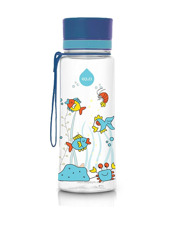 EQUA BPA FREE water bottle, Equarium, motif of fishes, crabs and algae, blue color