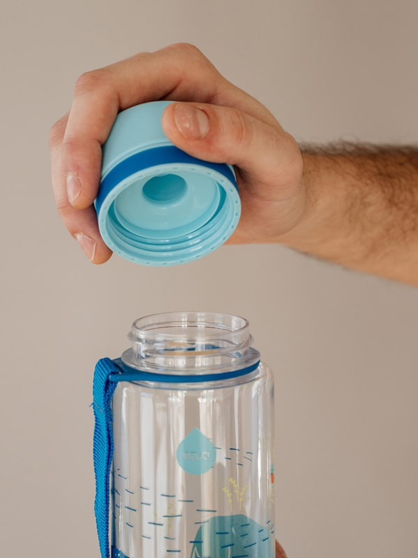 EQUA BPA FREE water bottle, Rhino, close up of the lid, blue color
