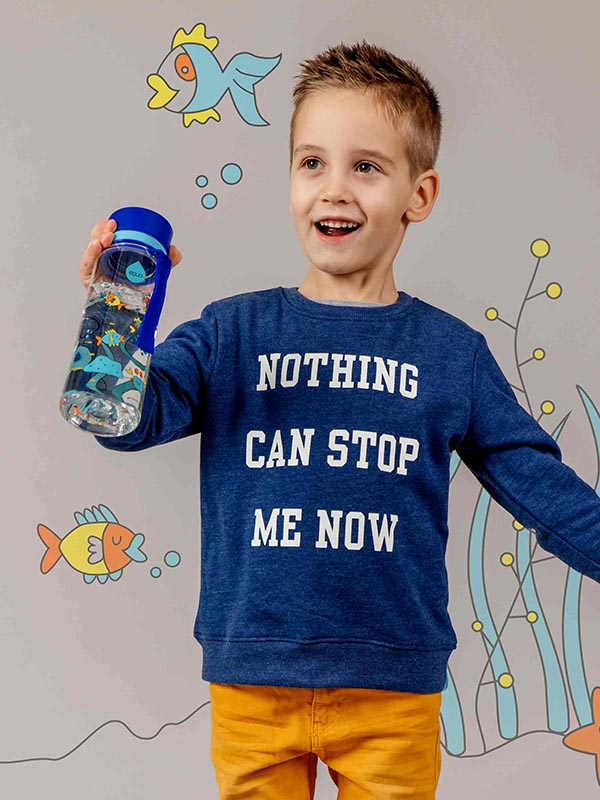 EQUA BPA FREE water bottle, Equarium, smiling little boy holding water bottle in hand, motif of fishes, crabs and algae, blue color