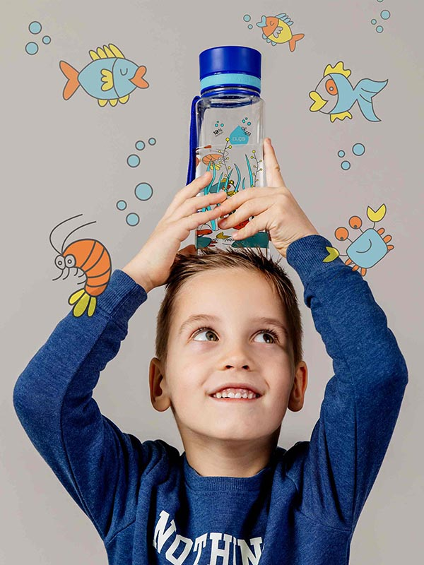 EQUA BPA FREE water bottle, Equarium, little boy playing with water bottle, the bottle is playful standing on his head, motif of fishes, crabs and algae, blue color