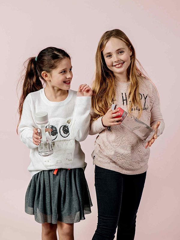 EQUA BPA FREE water bottle, Esprit Birds, two happy and smiling girls holding water bottles, pink color