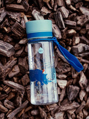 EQUA BPA FREE water bottle, Rhino, close up of the water bottle in the nature, motif of rhinos, blue color