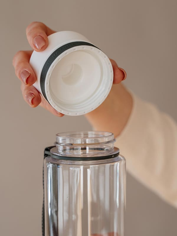EQUA BPA FREE water bottle, Plain White, close up of the lid, white color