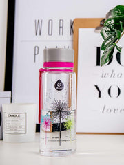 EQUA BPA FREE water bottle, Dandelion, bottle on the office table, motif of dandelion, pink and grey color