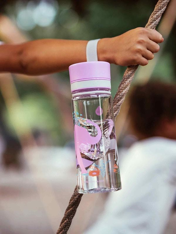 EQUA BPA FREE water bottle, Elephant, held by handle, picture of the bottle in the nature, motif of elephants, purple and grey color