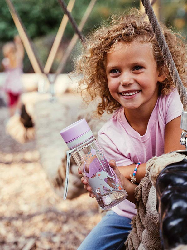 EQUA BPA FREE water bottle, Elephant, happy little girl holding water bottle on the playground, motif of elephants, purple and grey color
