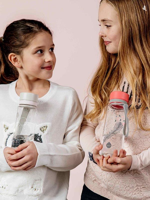 EQUA BPA FREE water bottle, Esprit Birds, two happy and girls holding water bottles and looking at each other, pink color