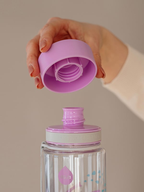 EQUA BPA FREE water bottle, Elephant, close up of the lid and mouth piece, purple and grey color